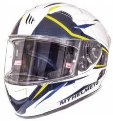 Casco integral MT Helmets Kre SV Intrepid B3 (Blanco perla / Amarillo fluor)
